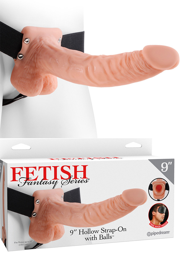 Gode ceinture creux avec testicules 24 cm