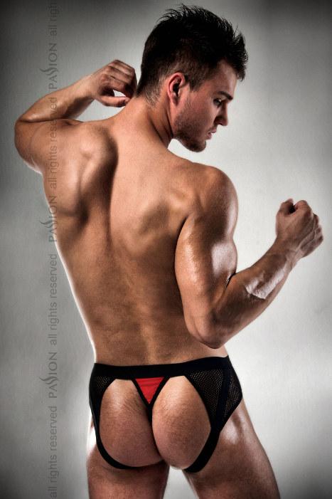 Boxer Jock fesses nues noir et rouge 007 L-XL