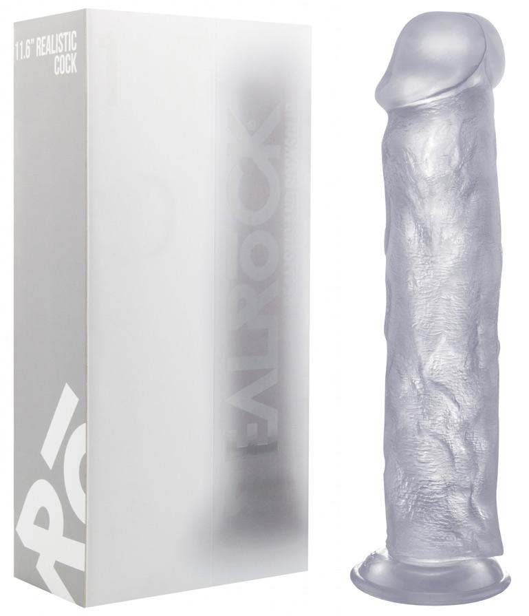 Gode réaliste transparent avec ventouse 29 cm