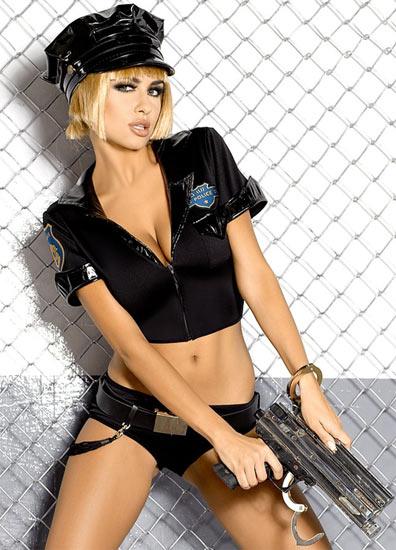 Tenue sexy noire police par Obsessive S-M