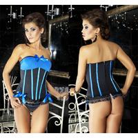 Corsage et String Crystal bleu/noir L