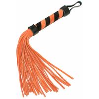 Fouet en cuir orange et noir 25 cm