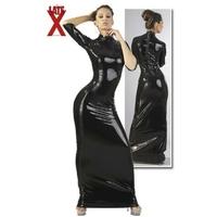 Robe longue en latex noir M