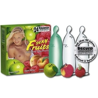 24 préservatifs saveur framboise pomme pêche