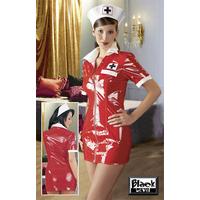 Robe rouge infirmière vinyle L