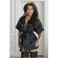 Kimono et String noir en satin Rashida XXL-XXXL