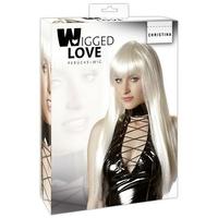 Perruque longue blonde platine