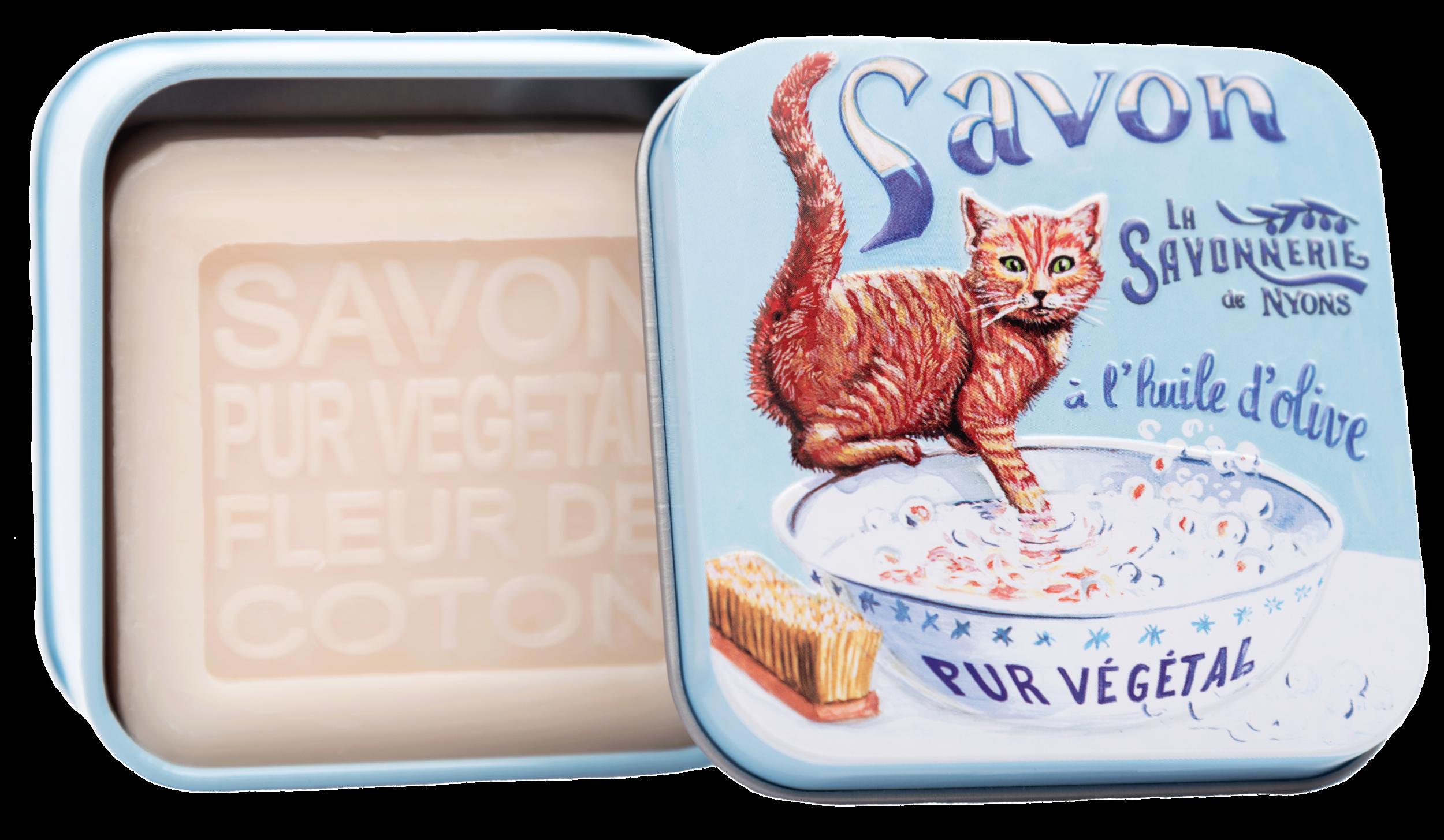 Boite Métal Chat Roux & Savon 100g