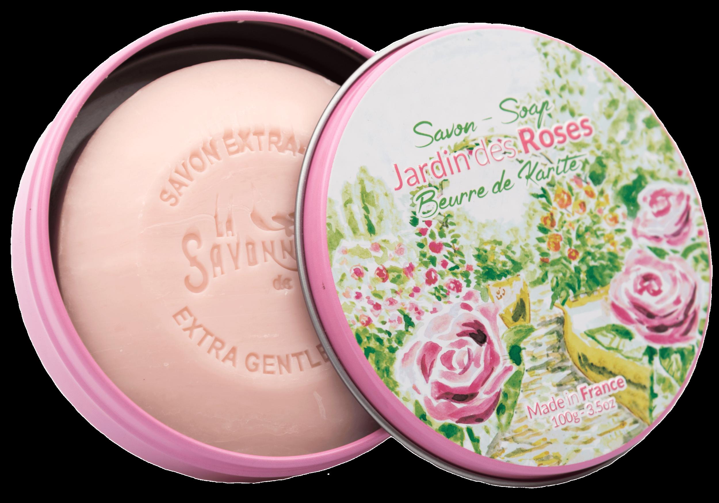 Boite Métal Ronde & Savon 100 g Jardin des Roses