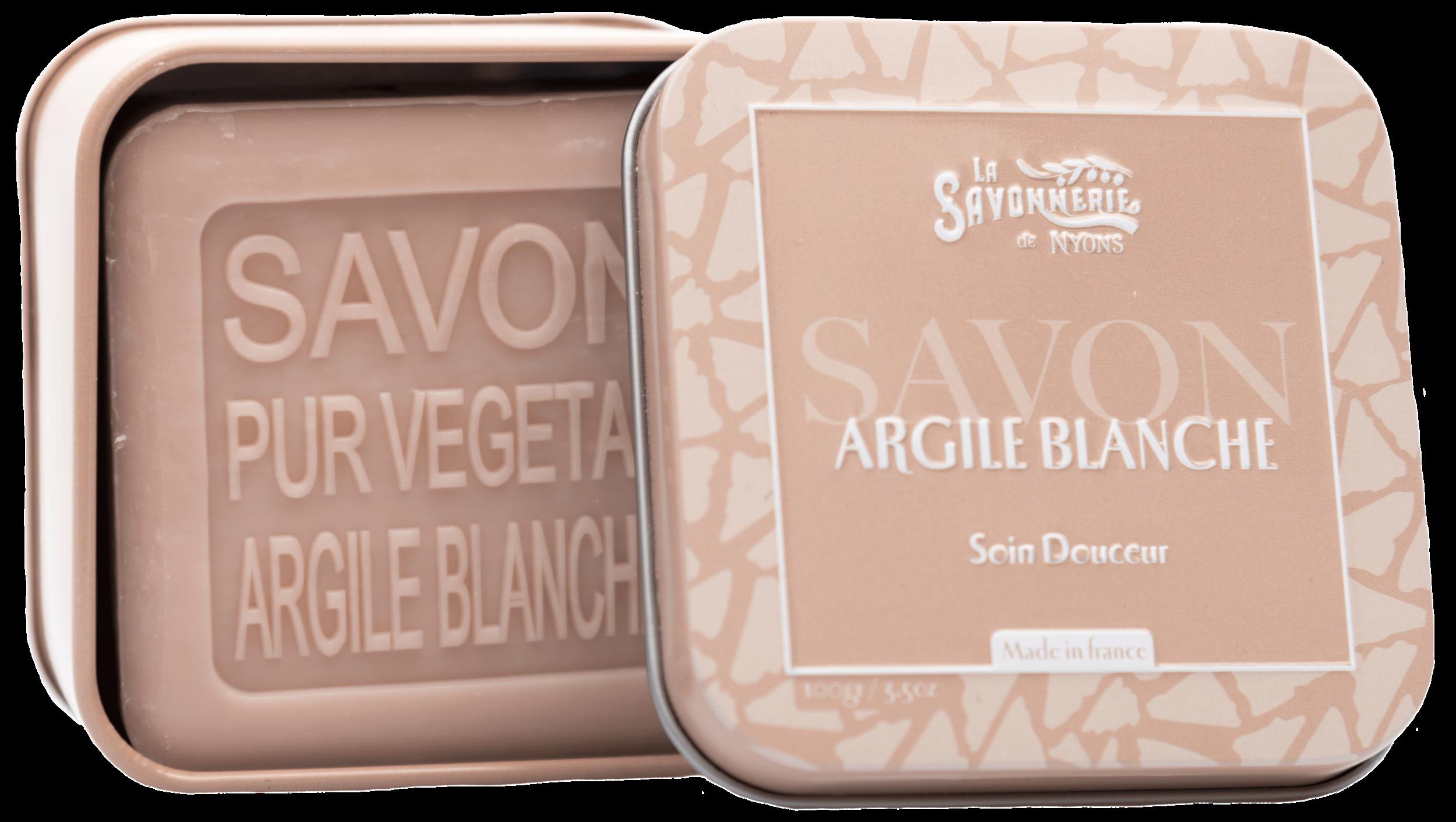 Boîte Métal & Savon Argile Blanche 100 g