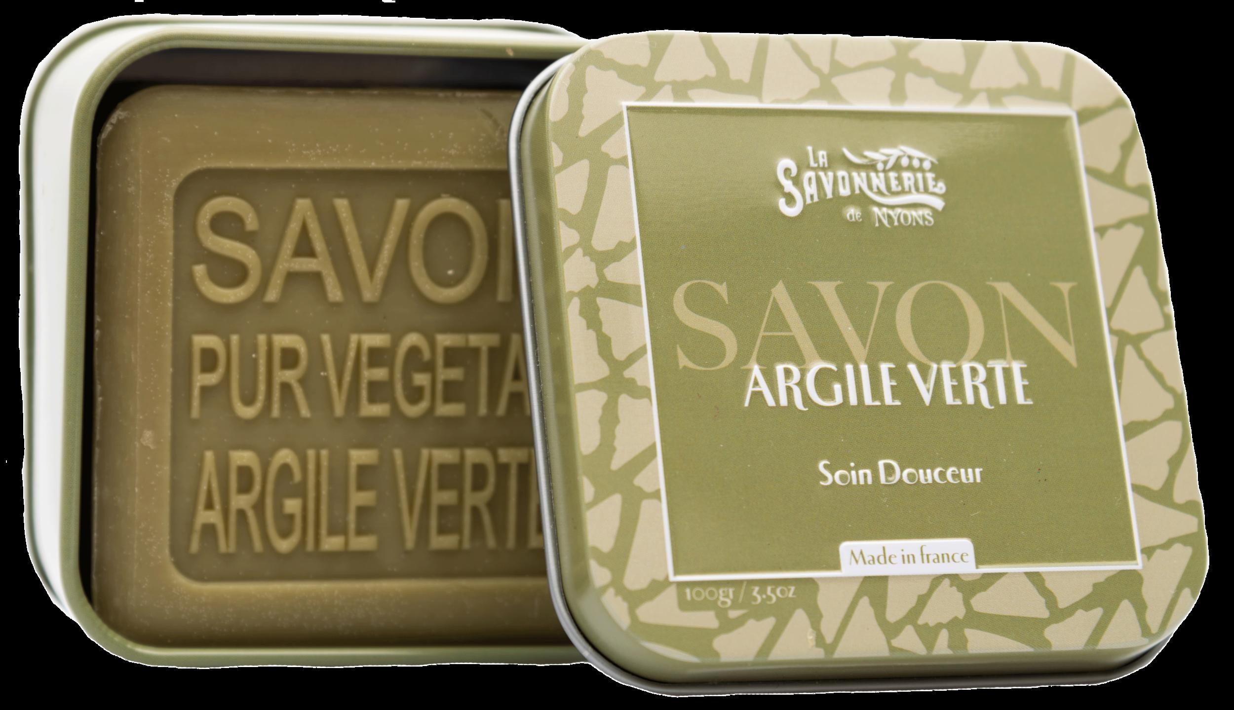 Boîte Métal & Savon Argile Verte 100 g