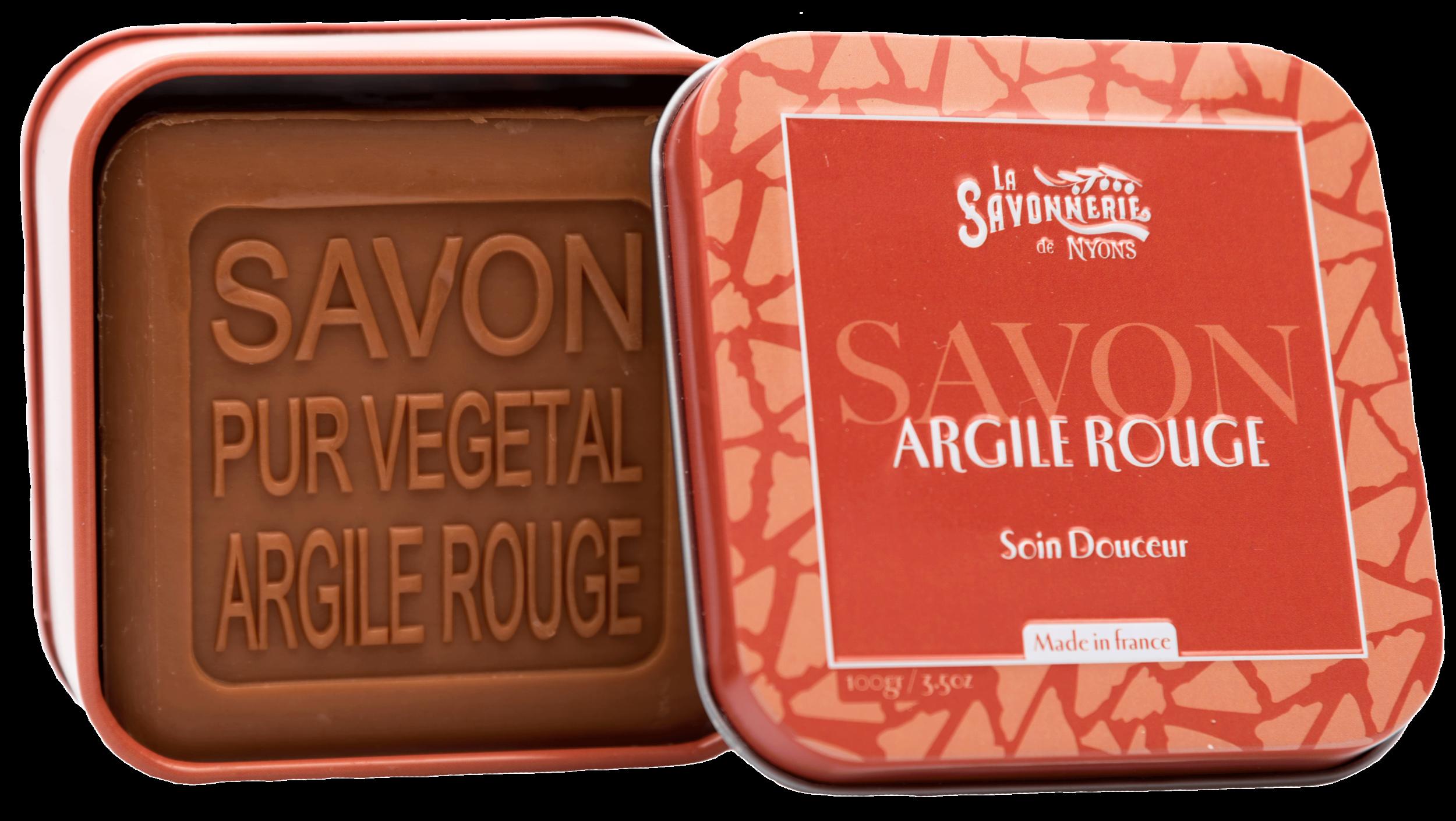 Boite Métal & Savon Argile Rouge 100 g