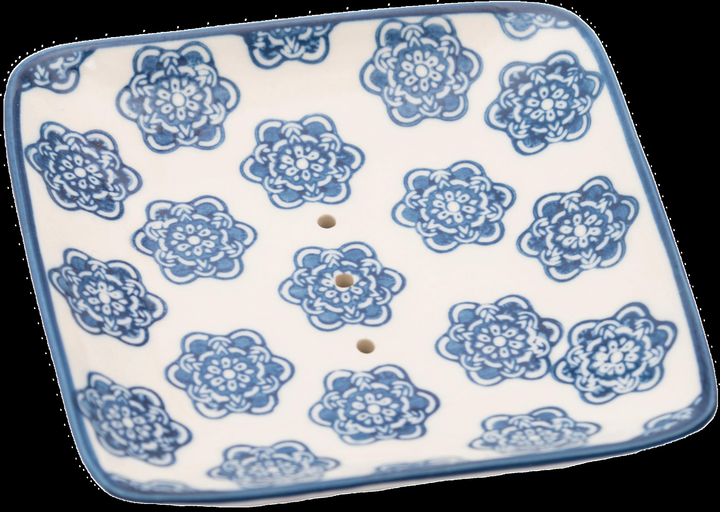 Porte Savon Pattern Carré Bleu