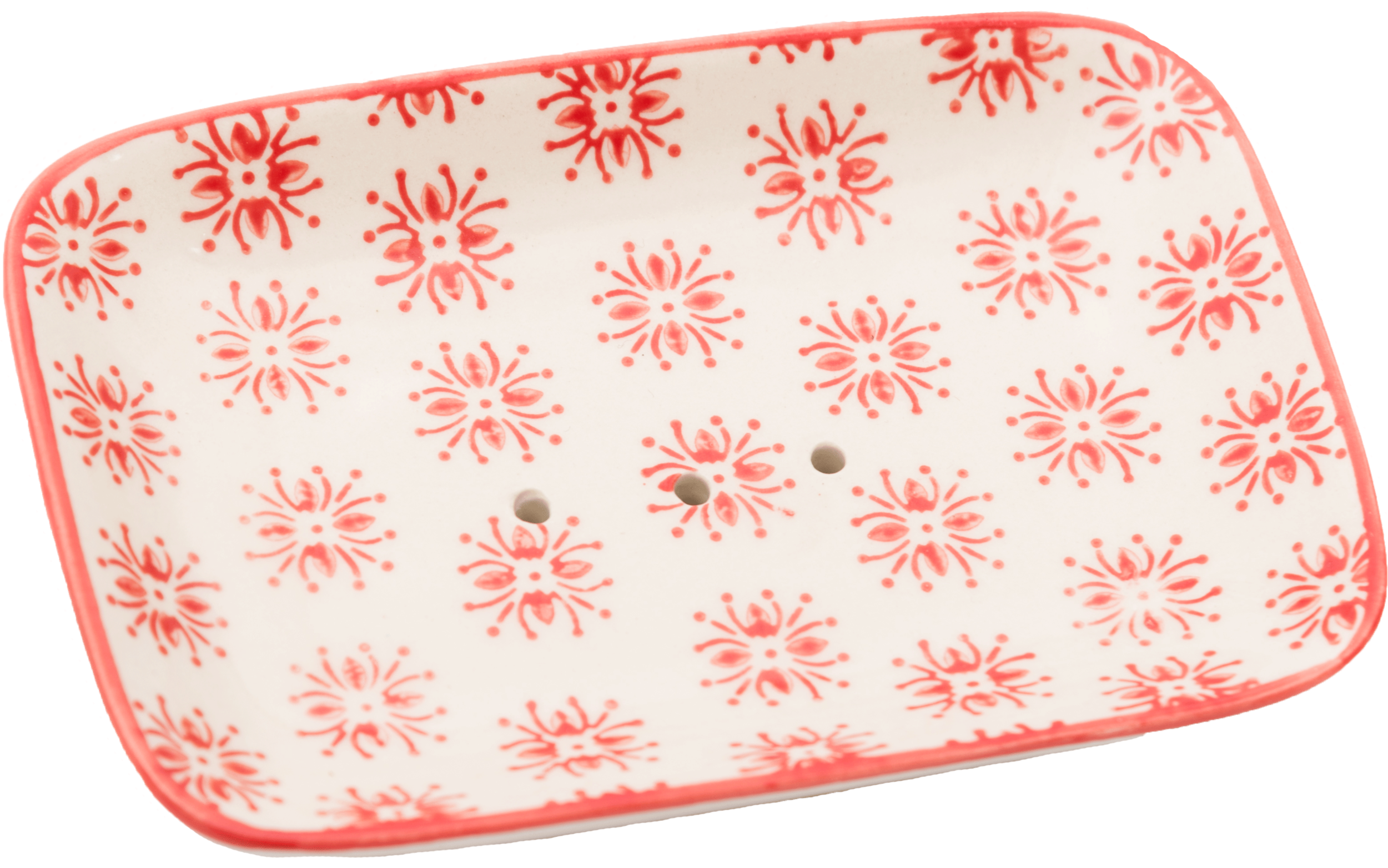 Porte Savon Pattern Rectangle Rouge
