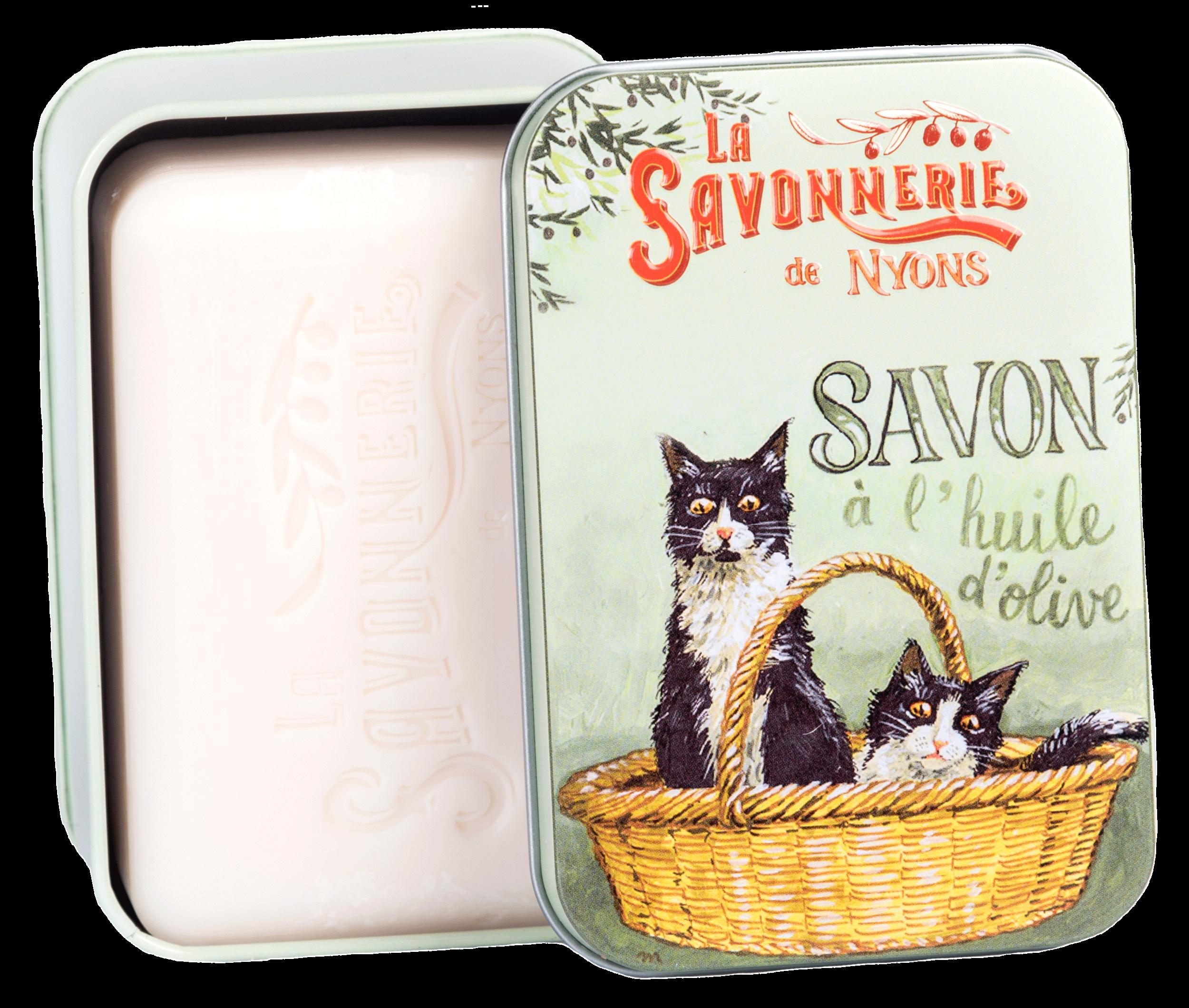 Boîte Métal Chats Noirs et Blancs & Savon 200 g