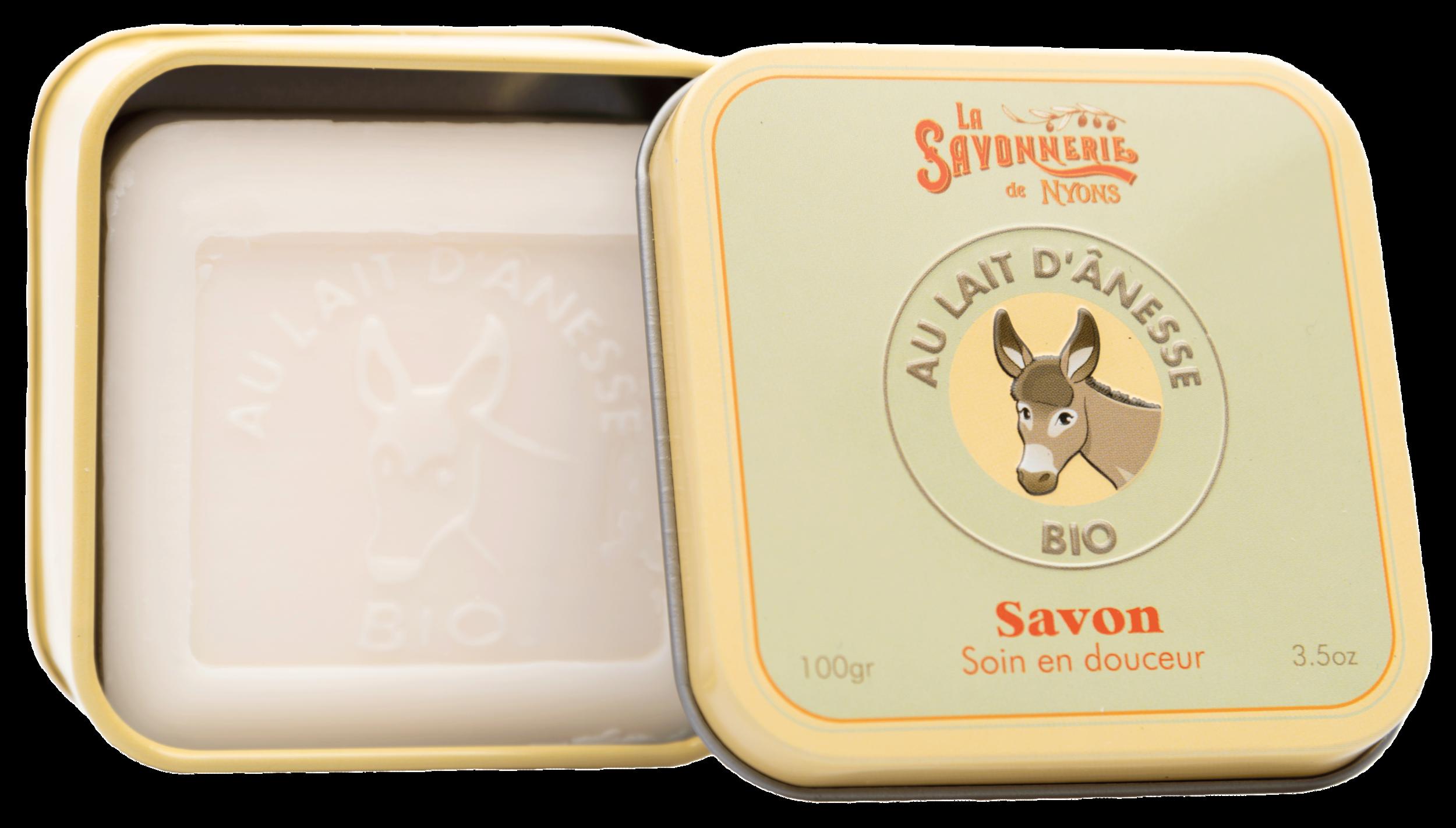 Boîte Métal & Savon Lait d\'Anesse BIO 100 g