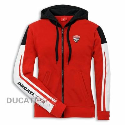 Sweat zippé à capuche Ducati Corse 14 pour Femme Rouge