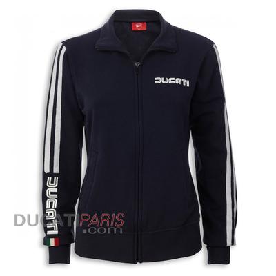 Sweat zippé Ducati 80s bleu pour Femme