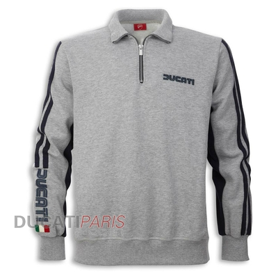 Sweat 1/2 zip Ducati 80s 14 Gris