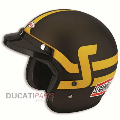 Casque jet Ducati Scrambler Short Track Marron/Jaune