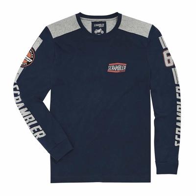 T-shirt Scrambler Flat Track Blue - Manches longues