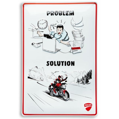 Plaque en métal DUCATI / PROBLEM / SOLUTION