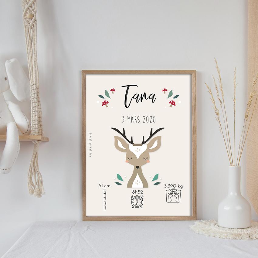 Affiche naissance animaux de la forêt
