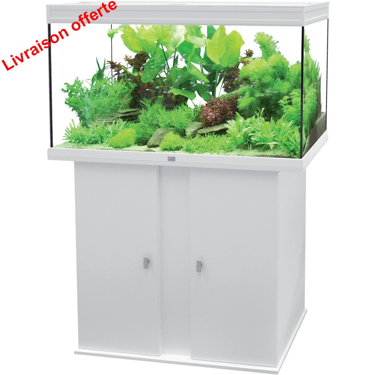 Ensemble aquatlantis aqua meuble elegance plus 118 blanc for Boutique aquariophilie