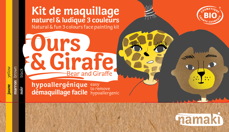 Doux Good - Namaki - kit de maquillage bio 3 couleurs Ours et Girafe