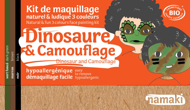Doux Good - Namaki - kit de maquillage bio 3 couleurs Dinosaure et Camouflage