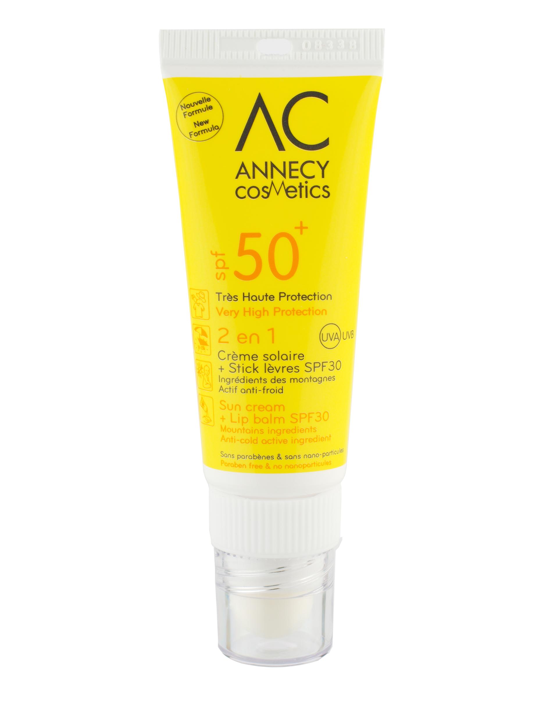 Doux Good - Annecy Cosmetics - 2 en 1 - Crème solaire SPF50 et stick lèvres
