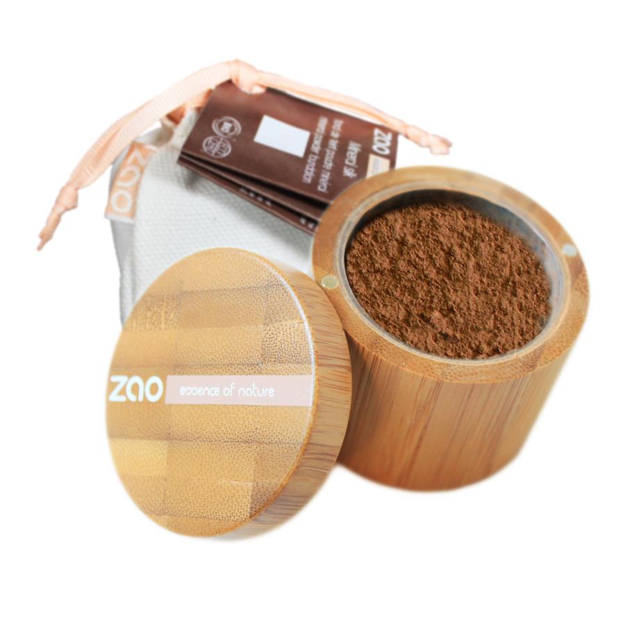 doux good - zao make-up - fond de teint poudre libre et minérale - 505 beige noisette