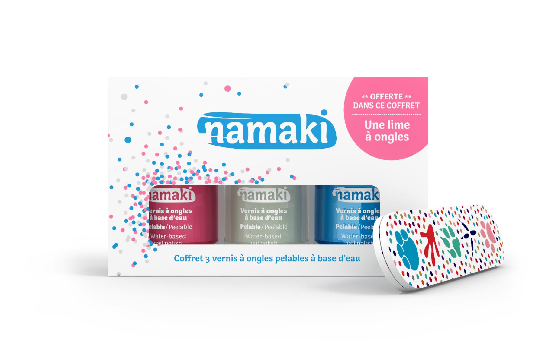 Namaki sur Doux Good - Coffret 3 vernis Namaki Rose-Blanc-Bleu ciel et lime à ongles