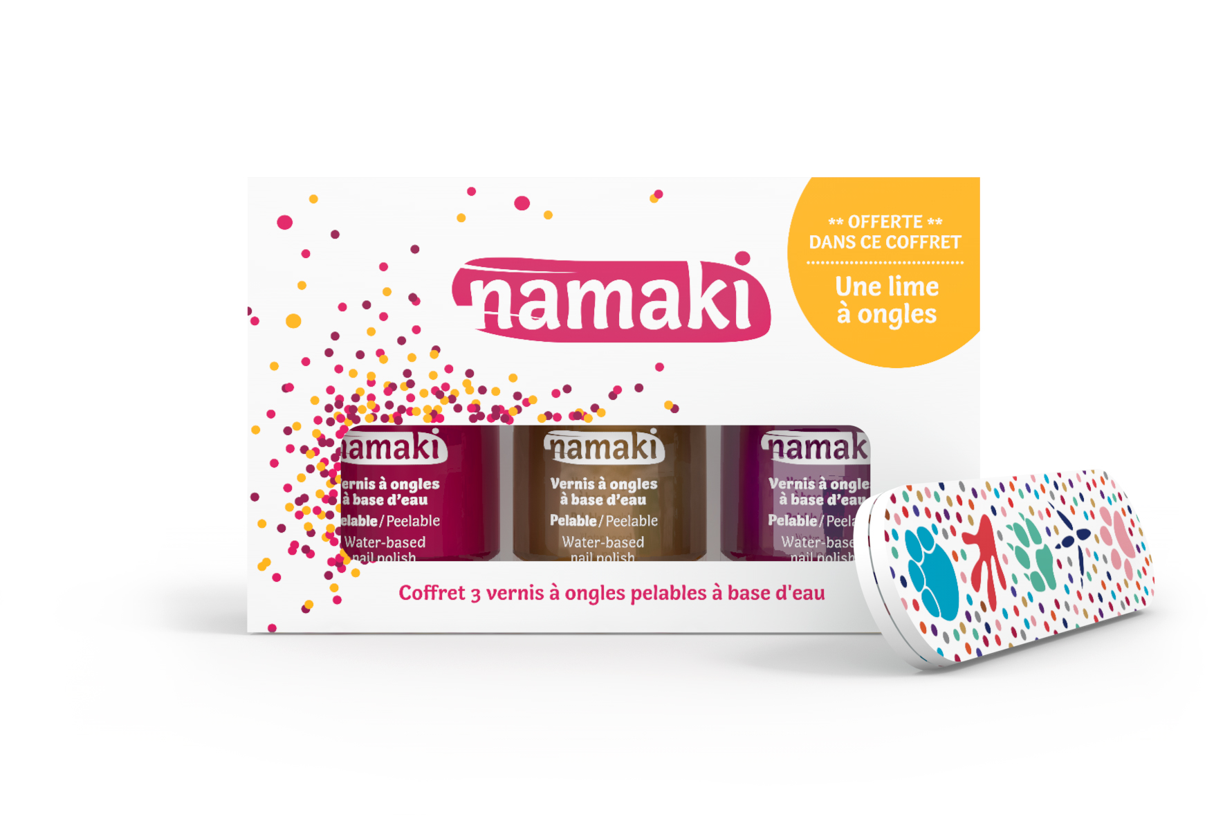namaki sur Doux Good - Coffret 3 vernis Namaki Framboise-Or-Fuchsia-et lime à ongles offerte