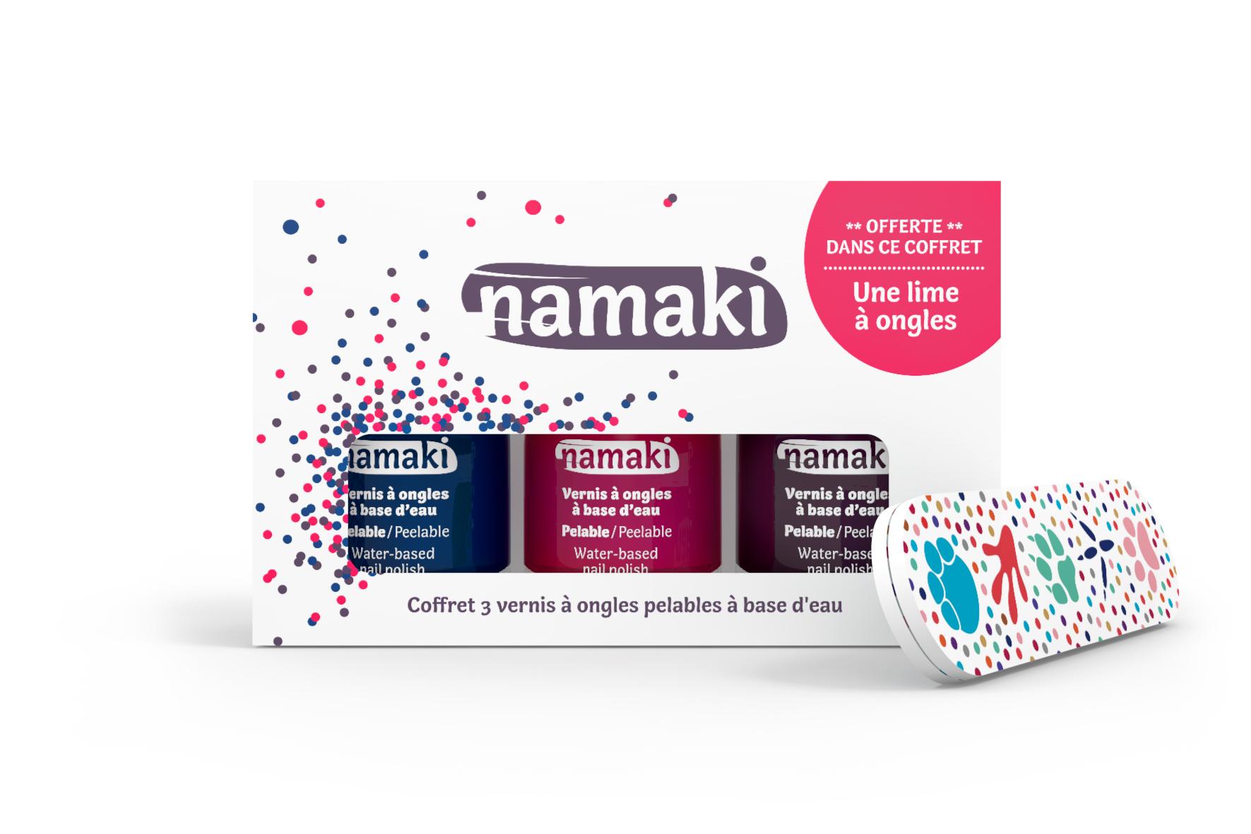 Namaki sur Doux Good - Coffret 3 vernis Namaki Bleu nuit-Griotte-Prune-lime à ongles offerte