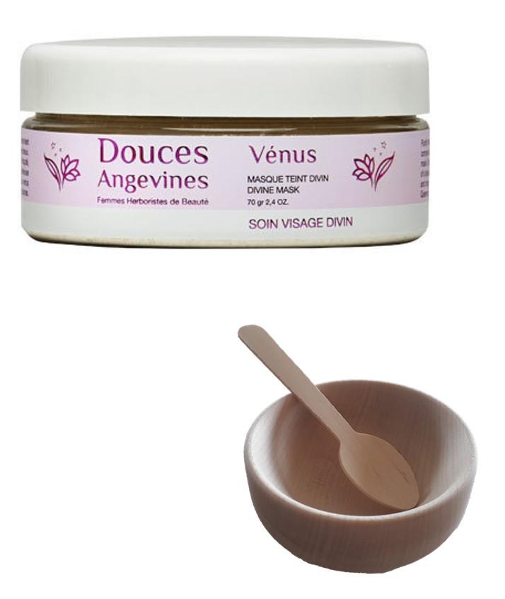 Douces Angevines - Duo masque Venus et bol en bois