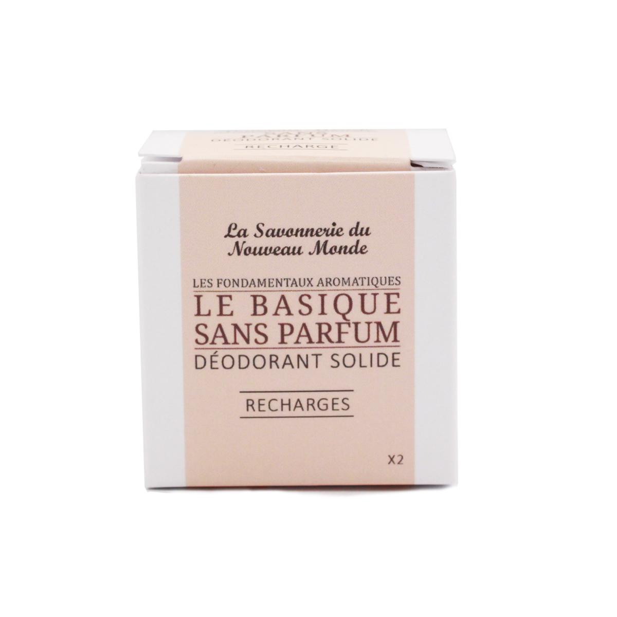 recharges déodorant le Basique sans huiles essentielles - La savonnerie du Nouveau Monde