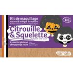 Kit de maquillage 3 couleurs - Citrouille et squelette - Namaki