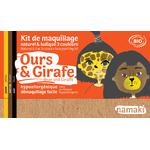 Kit de maquillage 3 couleurs - Ours et girafe - Namaki