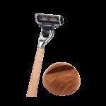 Kit rasoir et base en bois de noyer - Caliquo