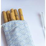Pochette de 6 pailles en bambou et 1 goupillon