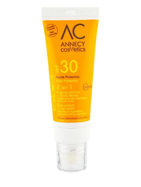 Combi stick 2 en 1 cr me solaire spf30 et stick l vres annecy cosmetics - Creme solaire maison ...
