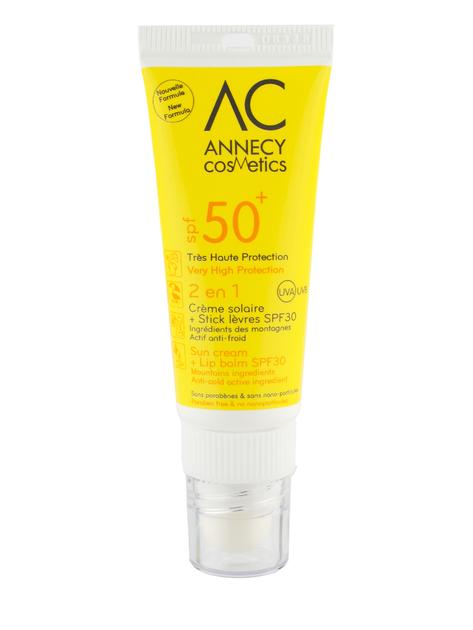 Combi stick 2 en 1 cr me solaire visage spf50 et baume l vres annecy cosmetics - Creme solaire maison ...