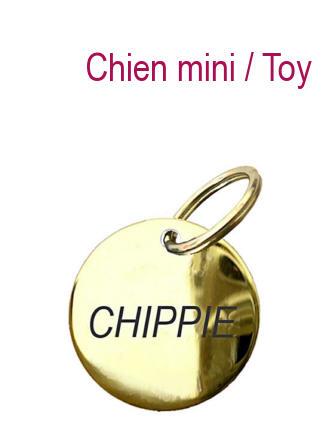 Médaille chien Ronde Mini 1,8 cm pour CHIEN MINI - laiton