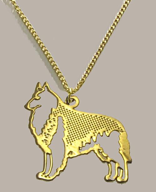 bijou pendentif berger belge dor or fin 24 carats finement cisel fourni avec chaine 45 cm. Black Bedroom Furniture Sets. Home Design Ideas