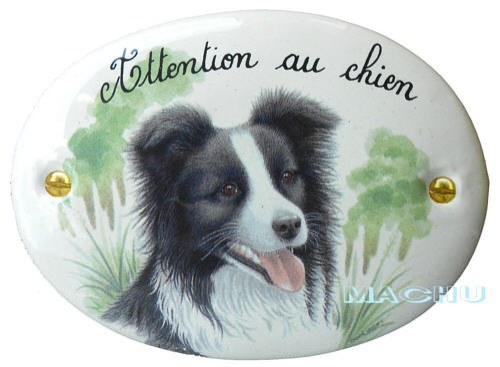 plaque border collie en fa ence 39 attention au chien 39 12 5 cm x 9 cm fabrication artisanale. Black Bedroom Furniture Sets. Home Design Ideas