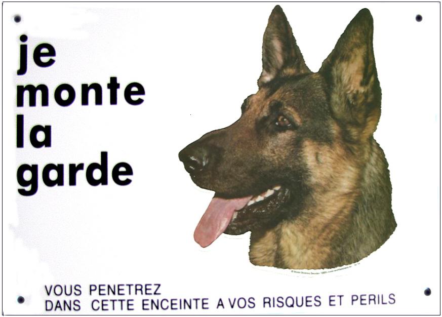 berger allemand pancarte chien 26 cm x 19 cm je monte la garde signal tique pancartes 39 je. Black Bedroom Furniture Sets. Home Design Ideas