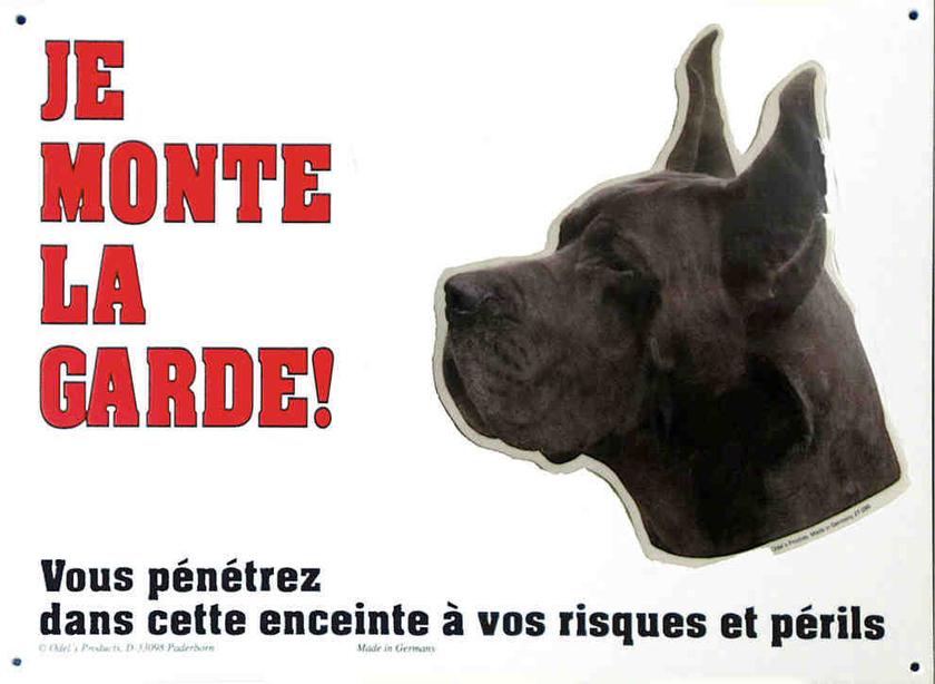 pancarte chien dogue all noir 26 cm x 19 cm je monte la garde signal 233 tique pancartes je