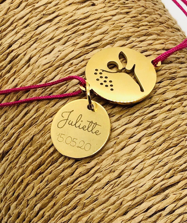 Bracelet de naissance, cadeau tata, cadeau marraine, bijoux personnalisable