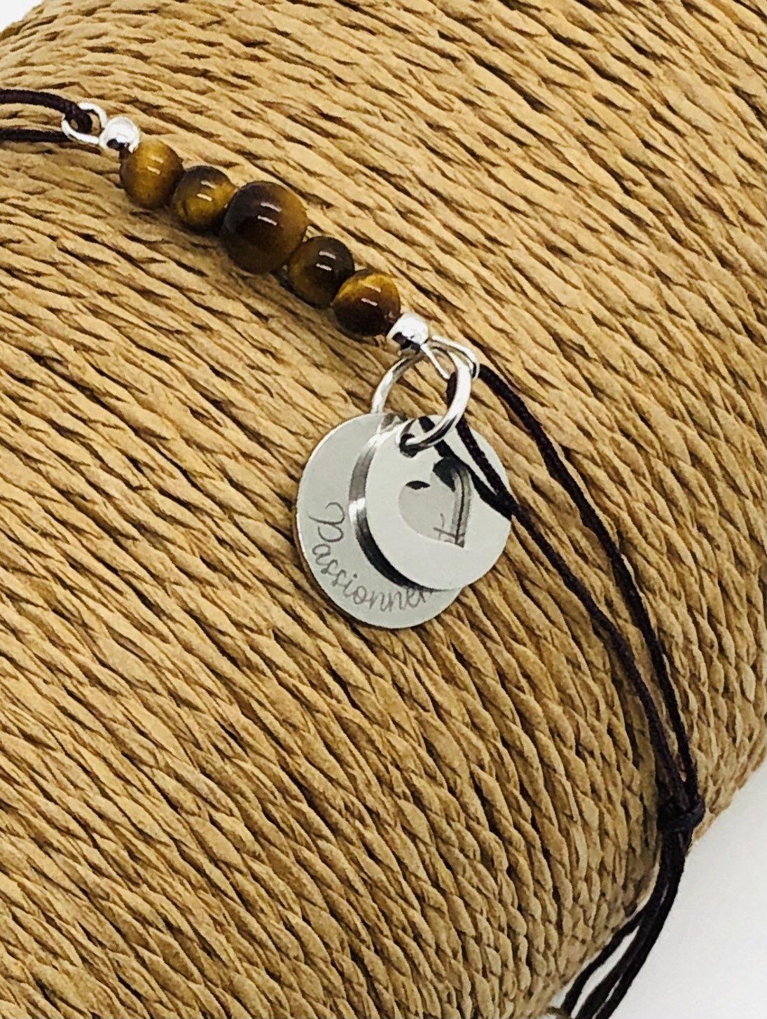Bracelet personnalisable, pierres semis précieuses œil de tigre.